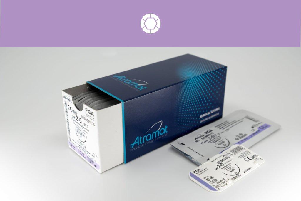 Atramat PGA resorbierbares geflochtenes medizinisches Nahtmaterial. Resorbierbarer Faden und alternative zu Braun Safil, , Serag-Wiessner Serafit, Covidien Dexon